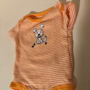 *8 for $25 Rococo Puppy Orange Striped Bodysuit 6M
